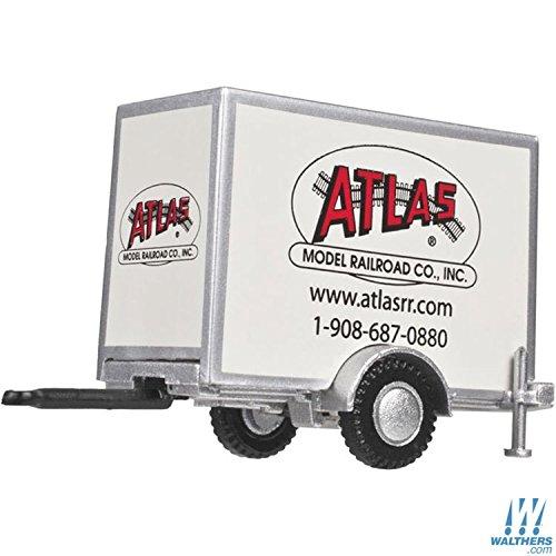 Ho Standard Gauge - ATLAS HO GAUGE Standard Single-Axle Box Trailer - Assembled - Atlas Model Railroad Company (white, black, red)