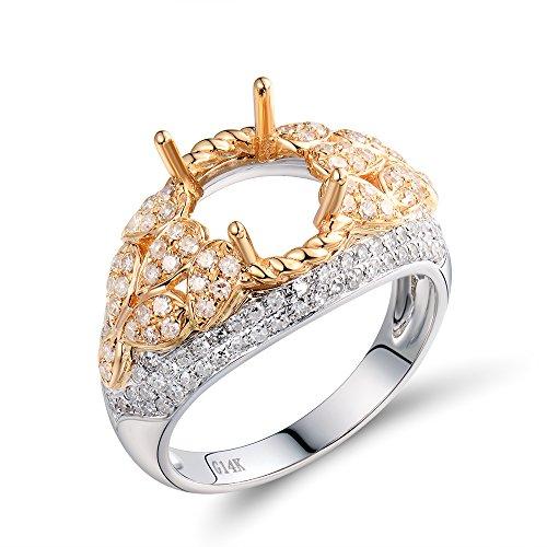 (Lanmi Oval 7.5x9.5mm 14K Multi Gold Semi Mount Wedding & Engagement Diamond Ring Set)