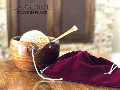 Yarn & Fiber Premium Yarn Bowl | Large 7x4 Inch with Travel Bag | Smooth Handcrafted Rosewood, Stop Yarn From Rolling, Knitting and Crochet Yarn Holder by Yarn & Fiber (Image #1)