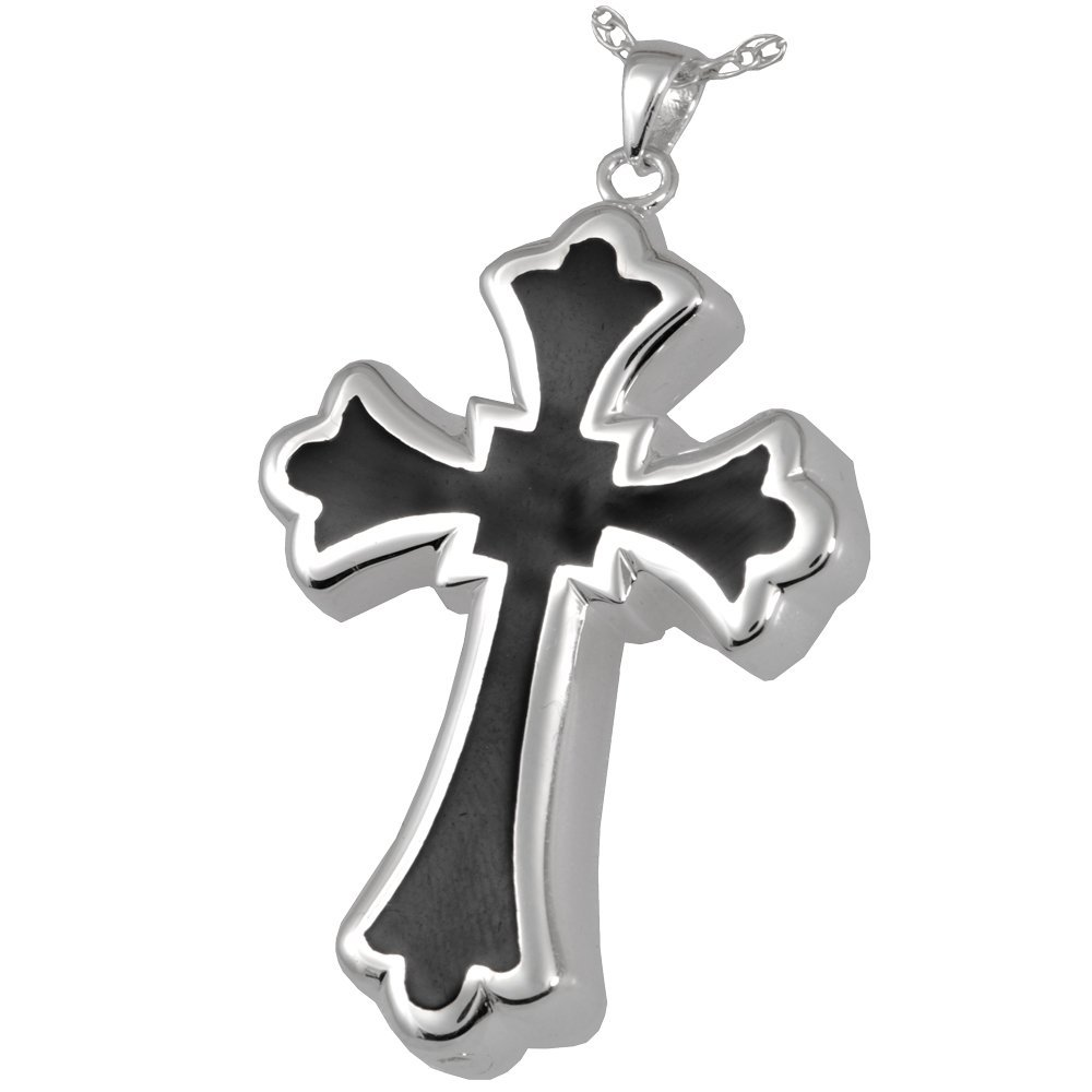 Memorial Gallery 3346s Tattoo Cross Sterling Silver Cremation Pet Jewelry by Memorial Gallery