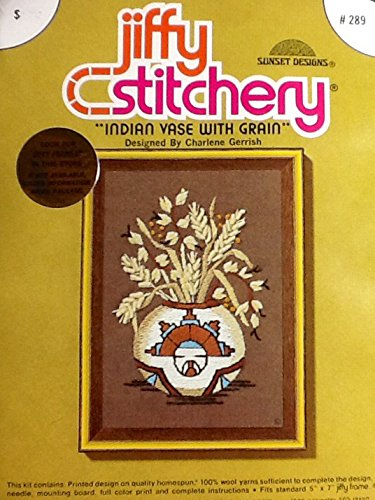 Counted Kit Cross Stitch Jiffy (Indian Vase with Grain ~ 1976 Vintage Jiffy Stitchery Embroidery Kit)