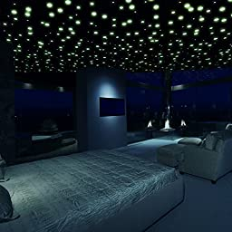 Glow in the Dark Stickers, Glow in the Dark Stars Ceiling and Wall Stickers (735 Piece Set) – Bright Realistic 3D Domed Glow of Night Time Sky