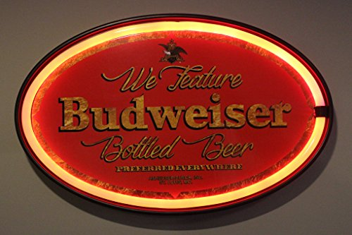 We Feature Budweiser Beer  - Reproduction Vintage Advertising Oval Sign - Battery Powered LED Neon Style Light - 16 x 11 x 2 ()