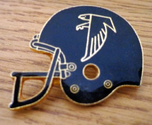 older-nfl-atlanta-falcons-helmet-retired-hat-lapel-pin-gold-trim-by-peter-david