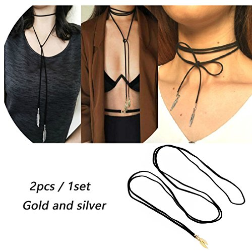 SUNSCSC 2PCS Long Lariat Stretch Tattoo Choker Tassel Necklace Set Simple Pendant for Women (Wrap Lariat Necklace)