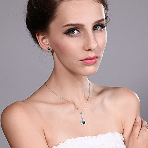 1.91 Ct Blue Diamond White Created Sapphire 925 Silver Pendant Earrings Set by Gem Stone King (Image #1)