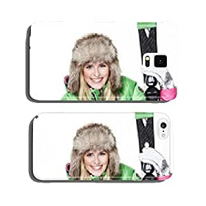 Woman with skiing gear and winter tyre cell phone cover case Samsung S5