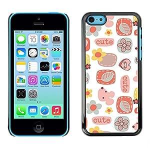 TopCaseStore / la caja del caucho duro de la cubierta de protección de la piel - Cute Pattern Art Kids White - Apple iPhone 5C