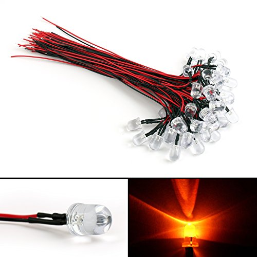 Areyourshop 50x DC 9-12V Pre Wired 20cm 10mm LED Red Water Clear Lamp Light Emitting Diode (9v Lamp)
