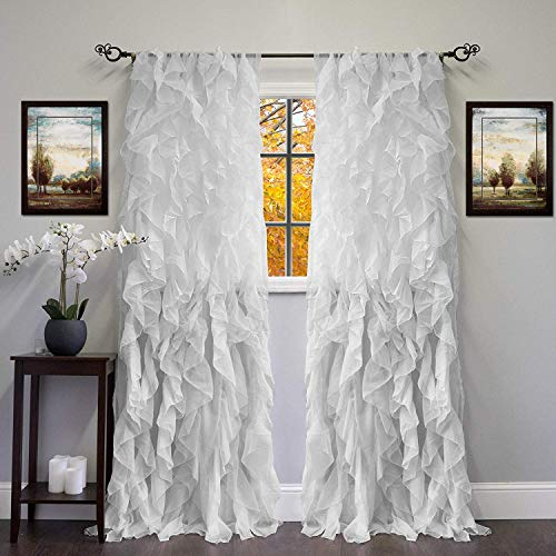 Linens And More 2 Panel Window Sheer Voile Vertical Ruffled Waterfall Curtains84 inches Long x 50 inches Wide (Silver) -