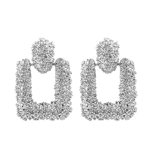 Textured Rectangular Statement Drop Dangle Earrings KELMALL COLLECTION ()