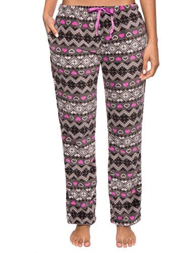 Noble Mount Homewear Pantalón Pijama de Coral Polar para Mujer Nórdico - Carbón/Rosa