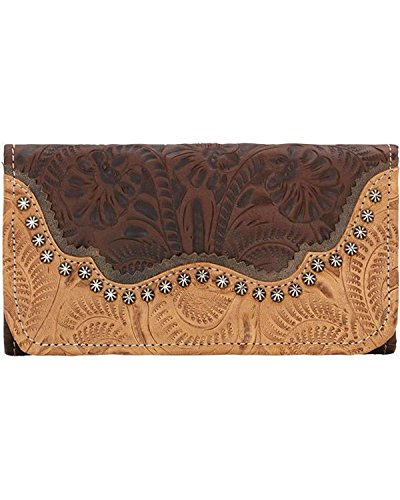 American West Leather Ladies' Tri-Fold French Wallet (Saddle Ridge - Chestnut - Tri Tooled Leather Fold