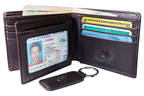 Premium Leather Wallet with Keychain Set for Men Bifold Card Holder with 2 ID Windows