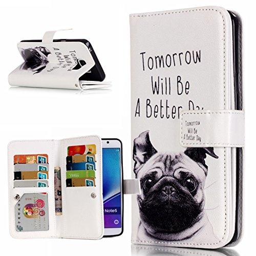 aeeque® Apple iPhone 5C/5S/6S/6(Plus), Samsung Galaxy S3/S4/S5/S6/S6edge/S6edge/Note 5, LG G4Stylus/K10Wallet Case Cover Portafoglio Custodia Borsa in ecopelle Tier Pug Samsung Galaxy Note 5
