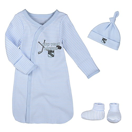 NHL New York Rangers Children Boys Blue Gown, Hat & Bootie Set, 1 Size, Baby Blue Layette Apparel