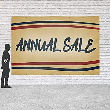 CGSignLab 9x6 Annual Sale Nostalgia Stripes Heavy-Duty Outdoor Vinyl Banner