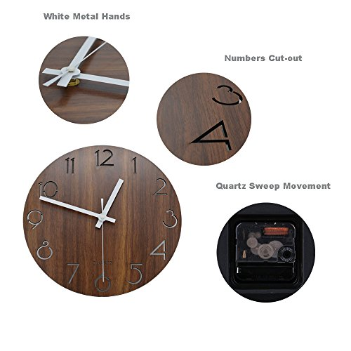 "51YmM3Tnp5L - Jomparis 12"" Vintage Arabic Numeral Design Rustic Country Tuscan Style Wooden Decorative Round Wall Clock"