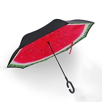 QETU Sombrilla Paraguas Reversible De Doble Capa, Paraguas Tipo C Sin Sujeción, Puede Sostener