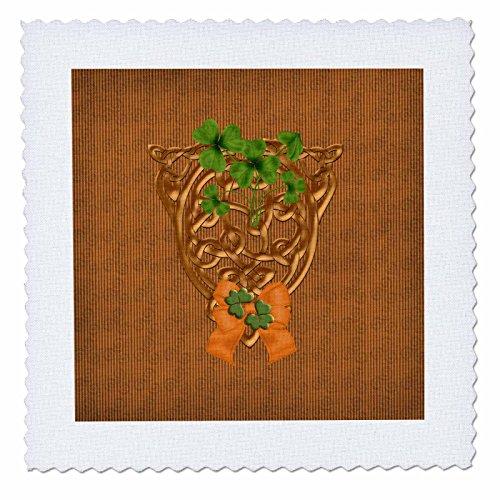 3dRose Beverly Turner St Patrick Day Design - Gold Celtic Design with Green Shamrocks, Orange Bow - 20x20 inch Quilt Square -