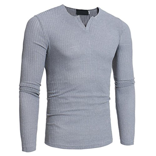 Solid Slim V-neck - Hattfart Mens Pullover Sweater Slim Comfortably Knitted V-Neck Long Sleeve Solid Color (Gray, XXL)