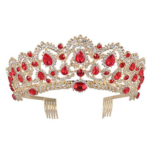 Frcolor Korean Water Drill Bride Crown Top Hair Tiara Bridal Hair Accessories for Woman Girl (Red) -