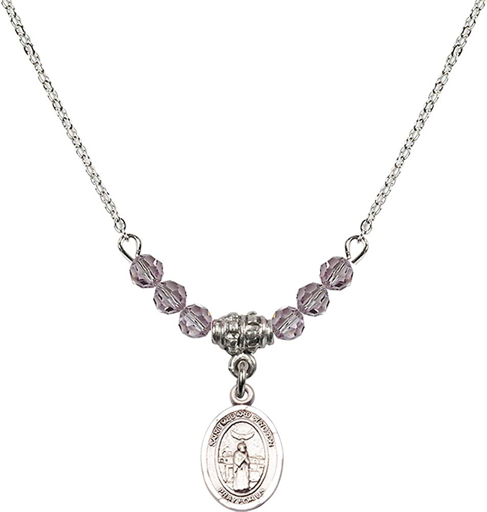 18-Inch Rhodium Plated Necklace with 4mm Light Amethyst Birthstone Beads and Sterling Silver Saint Medard of Noyon Charm.