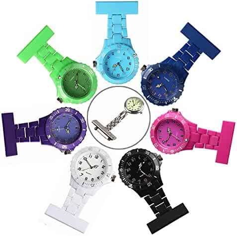 Plastic Nurses Lapel Watch Clip-on Fob Brooch Hanging Pocket Watch for Man and Women Black/White/Purple/Green/Blue/Navy/Pink (Pack of 7) Good for Man and Women