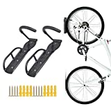 Teraysun 2 PCS Bicycle Storage Rack-Wall Mounted Bike Hanger Hook Vertical Bike Hook for Indoor Shed to Save the Space - Easily Hang/Detach - Heavy Holds up to 66 lb with Screws Black