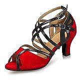 Minishion Women's Comfortable Red Performance Salsa Tango Ballroom Latin Dance Sandals 7 M US