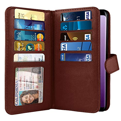 NEXTKIN Case Compatible with Samsung Galaxy S9 5.8 inch, Dual Wallet Folio TPU Cover, Pockets Double Flap, Multi Card Slots Snap Button Strap for Galaxy S9 (NOT FIT S9 Plus) - Burgundy
