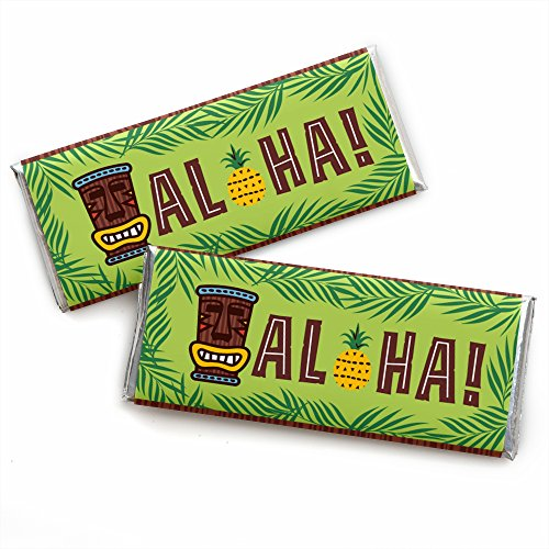 Tiki Luau - Candy Bar Wrapper Tropical Hawaiian Summer Party Favors - Set of 24