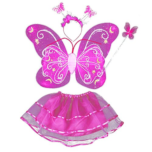 [EFINNY Baby Girl's Butterfly Fairy Princess Role Play Costume Set of 4 - Gillter Wings, Headband, Magic Wand, Tulle Tutu] (Make Your Own Halloween Costume With Clothes)
