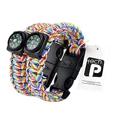 TECH-P® Survival Gear Paracord Bracelet Compass Fire Starter Scraper Whistle Gear Kits- 2 Pack
