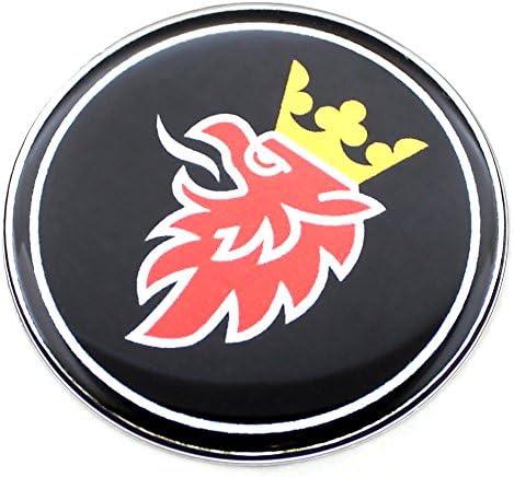 63 5 Mm Schwarzes Griffin Saab Chrom Motorhaube Kofferraum Luke Emblem Gewölbt 3d Aufkleber Selbstklebende Rückseite 9 3 Auto