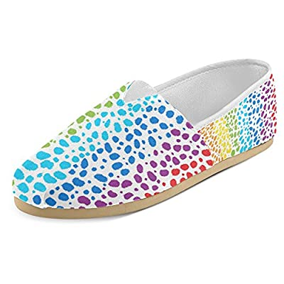 InterestPrint Women's Loafers Classic Casual Canvas Slip On Fashion Shoes Sneakers Flats Bright Rainbow Animal Leopard