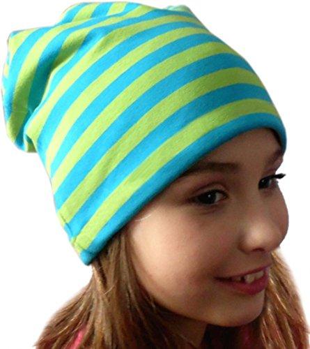 Beanie gorro rayas/EN 7Tamaños Designs/Niños y Adultos lime-royal