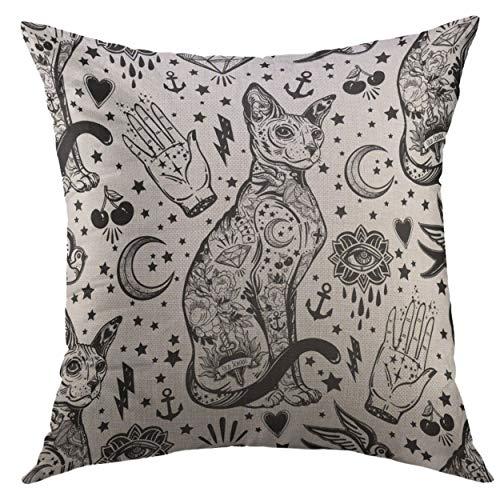 Mugod Decorative Throw Pillow Cover for Couch Sofa,Black Vintage Style Traditional Tattoo Flash Magic Inked Cat Doodle Trendy Stylish Old School White Home Decor Pillow Case 18x18 inch