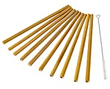 Reusable Bamboo Straws – 10 Pack Biodegradable Drinking Straws with 1 Cleaning Brush, Eco-Friendly, Non-toxic and Safe, Natural, 7.9 x 0.3 Inches