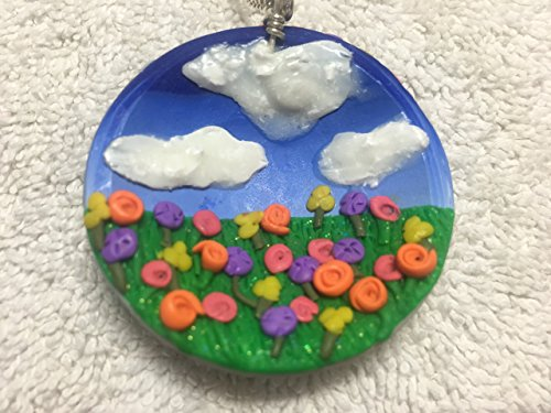 Handmade Double Sided Fly Away Applique Pendant Balloons Sky Flowers Field Girl (Disc Applique)