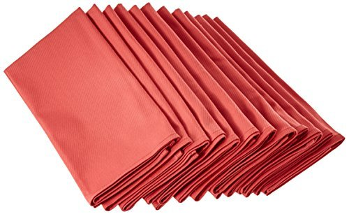 LinenMe X12 Plain Cotton Napkins 18 x 18 Coral [並行輸入品]   B079VF2NKT