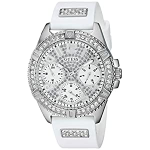 GUESS  Comfortable Stainless Steel + White Stain Resistant Silicone Watch with Day, Date + 24 Hour Military/Int'l Time. Color: White (Model: U1160L4)