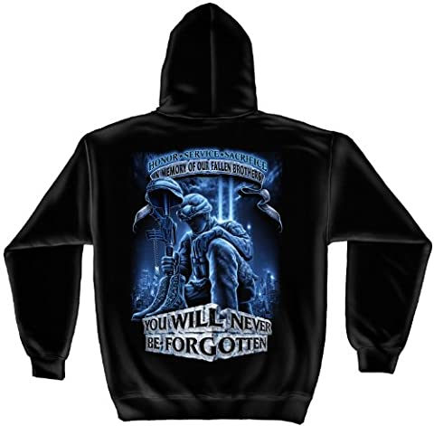 Patriotic Hooded Sweatshirt, 100% Cotton, Show Your Pride with our Patriotic Soldiers Cross Momorial Never Forget our Fallen Soldiers Long Sleeve Sweatshirts for Men or Women (Fallen Soldiers Cross)