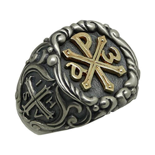 - Knights Templar Chi Rho Gold 10K and Silver 925 Alfa Omega men's Ring Roman emperor Constantine Cross