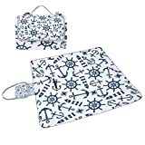 ALIREA Marine Nautical Pattern With Blue Items Picnic Blanket Tote Handy Mat Mildew Resistant and Waterproof Camping Mat for Picnics, Beaches, Hiking, Travel, RVing and Outings