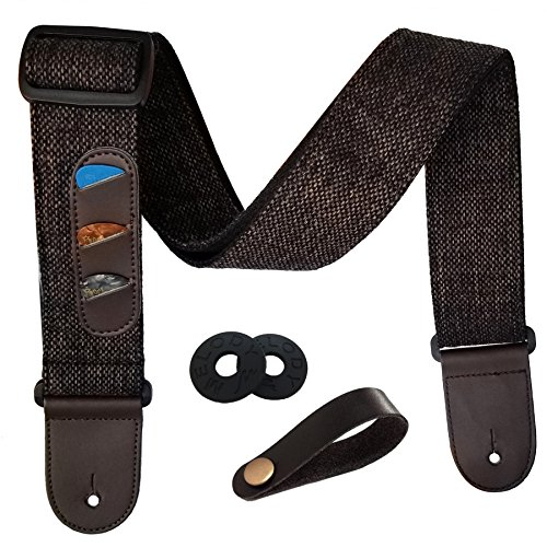 Guitar Strap Simple Style Adjustable Acoustic Electric Guitar Bass Strap with Leather Ends, Picks, Strap Bundle, Button Adjustable Guitar Strap