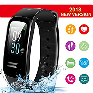 E-Chuang Fitness Tracker HR, Activity Tracker Watch with Heart Rate Monitor, Waterproof Smart Fitness Band with Step Counter, Calorie Counter, Pedometer Watch for Kids Women and Men, Android iOS