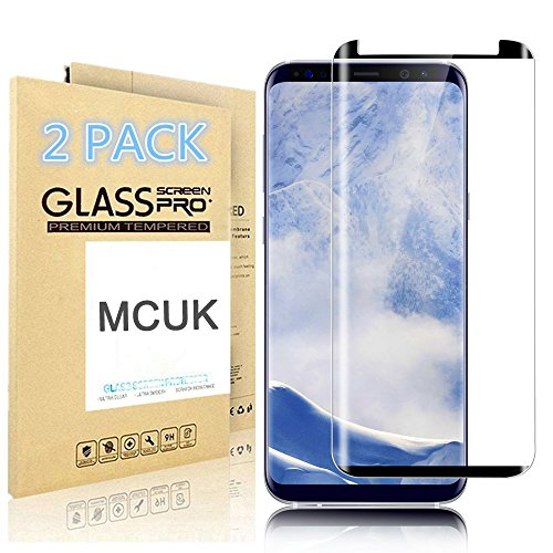 [2-Pack] Samsung Galaxy S9 Tempered Glass Screen Protector, MCUK [Case Friendly] 3D Curved 9H Hardness Bubble-Free [Anti Scratch][Anti-Fingerprint] Lifetime Replacement Warranty (2pack black)