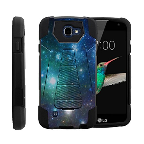 MINITURTLE Case Compatible w/ LG Optimus Zone 3 Slim Case| LG K4 Stand Case| LG Rebel Case| LG Spree Case [SHOCK FUSION] Heavy Duty Dual Layer Hard Case Soft Silicone Shock Protection Blue Space Specs ()