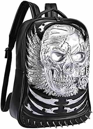 7502de432e0b Egoelife PU Leather 3D Skull Backpack Multipurpose Hiking Daypack School  Laptop Bag (Silver)